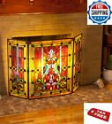 Fireplace Screen Protector Firescreen Stained Glass Tiffany Style Freestanding