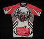 Vintage STEALTH GEAR Red Black White FULL ZIPPER Cycling JERSEY Mens Large L