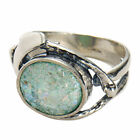 Womens Roman Glass Ring Antique Glass Set in Sterling Silver
