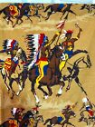 Vtg 4 Curtain Panels Native American Rustic Tribal Indian Chief Warrior FABRIC