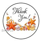 30 THANK YOU SEA SHELLS ENVELOPE SEALS LABELS STICKERS 15 ROUND BEACH THEME