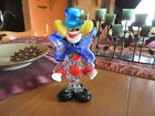 VINTAGE MULTI COLORED MURANO HAND BLOWN GLASS CLOWN RAINBOW BODY BLUE HAT COLLAR