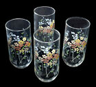Mid Century, Clear Glass Tumblers with Multi-Color Floral Designs, Set of 4