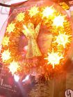 SEALED Vtg Angel Gold Tinsel Blinking Lights Aluminum Christmas Tree Topper NIP