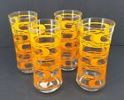 Vintage Retro Libbey Drinking Glasses Swirl Orange And Yellow  6.5