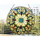Window Panel Victorian Design Stained Glass 22 Round Tiffany Style Multi color