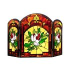 Fireplace Screen Floral Tiffany Style Stained Glass 3 PC 28 x 42 ONE THIS PRICE