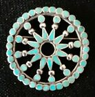 Native American Silver and Turquoise Pin Excellent Condition