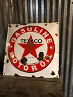 Porcelain Texaco Sign Gas Pump Plate Panel Vintage Antique Service Station