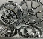 HARLEY DAVIDSON RIMS DYNA LOW RIDER CHROME WHEELS ROTORS PULLEY  FXDL (EXCHANGE)