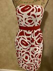 ANTONIO MELANI-RED WHITE Formal Dress-Size 4 Small Strapless-NWOT-EXCELLENT-