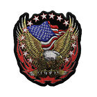 6 INCH American Flag Bald Eagle Embroidered iron On Patch Biker Patriotic 001