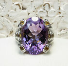 BEAUTIFUL THICK STERLING SILVER LARGE AMETHYST  CITRINE COCKTAIL RING SZ 9