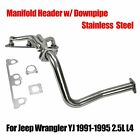 Stainless Manifold Header w Downpipe Fits Jeep Wrangler YJ 1991 1995 25L L4