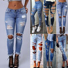 Women High Waisted Denim Jeans Stretchy Ripped Skinny Pencil Pants Slim Trousers