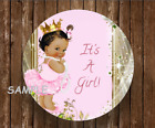 12 Baby girl royal princess shower stickers labels pink round african american