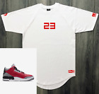 White T Shirt To Match Air Jordan Cement 3 Chicago Red 23 Sneaker Tees L XL 2XL