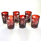 Set of 6 Ruby Glass Tumblers Bohemian Cut to Clear 4 Tall EXC