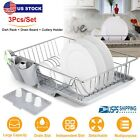 Dish Stainless Steel Rack Set Drying Tray W Plastic Cutlery Holder Drain Board