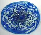 18 HAND BLOWN GLASS WALL OR TABLE PLATTER DIRWOOD GLASS BLUE AQUA  GREEN