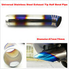1PC 76mm 67mm Car Muffler Exhaust Pipe Tip Half Bend Tail Stainless Steel Chrome