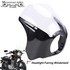 7'' Motorcycle Headlight Fairing Windscreen Windshield Cafe Racer For Harley