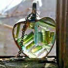 Glass terrarium necklace small tourmaline crystals gemstone heart floating boho