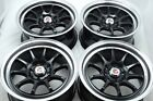 15 black Wheels Tiburon Yaris Fit Miata Rio Aveo Civic Accord 4x100 4x1143 Rims