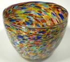VERY LARGE HAND BLOWN GLASS ART BOWL VASE ITALIAN STYLE END OF DAY GLASS