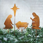 Nativity Scene Garden Stakes 4 pc Rusted Metal Christmas Lawn Ornament Decor