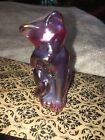Fenton Red Iridescent Carnival Glass Stylized Sitting Cat Licking Paw Figurine
