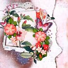 Handmade Coral Flowers  Butterflies 12x12 Premade Scrapbook Layout Page