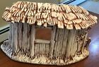 VTG Atlantic Mold Ceramic Nativity Creche Stable 145 2 Pieces Cream Brown