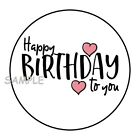 30 HAPPY BIRTHDAY TO YOU ENVELOPE SEALS LABELS STICKERS 15 ROUND PINK HEARTS
