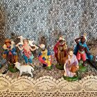 Lot Of 7 Vintage Italy Paper Mache Composite Christmas Nativity Figures