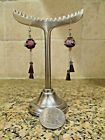 Handcrafted Sterling Silver Garnet and Hand Blown Glass Earrings