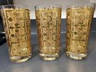 3 GEORGES BRIARD Gold Baroque green hiball glasses SIGNED Excellent!
