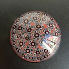 Murano Italy Millefiori Cane Floral Maroon Glass Paperweight Free shipping