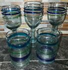 Mexican hand blown glass tumblers  Wine glasses set of 5 TealBlue Green rings