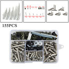 155PCS Stainless Steel Bikes Shell Fairing Bolt Plate Screws Nut Thread Set Kit