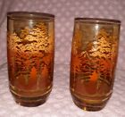 2 Vintage 1970s Amber Tawny~Trees Forest Fall Scenery~Drinking Glasses/Tumblers