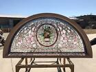 HAND CUT STAINED AND JEWELED GLASS VICTORIAN STYLE TRANSOM WINDOW JHL60