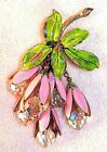 Vintage Brooch Pink Enameled Flowers with Honeycomb Cut Glass