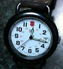 VICTORINOX SWISS ARMY WATCH QUARTZ DATE WHITE MILITARY FACE  BROWN LEATHER BAND