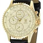 Mens Multifunction Gold Watch Black Leather Strap Day Date Reloj  Hombres Cheap