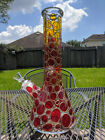 Stained Glass Glass Beaker Water Pipe Bong 125 Tall  7mm Thick Orange