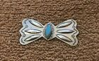 Vintage Native American Silver Metal  Turquoise Stone Butterfly Brooch