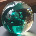 large glass paperweight green bubbles vintage 4 inches free shipping teal heavy
