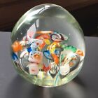 Pretty paperweight glass clear with rainbow colorful flowers millefiori floral