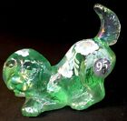 Fenton Art Glass Hand Painted Willow Green Carnival Puppy Dog